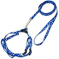 Sourcingmap–Bone Stampa Doggie Dog Collar Halter Harness guinzaglio, 1,18m, colore: blu/bianco
