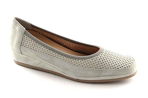 GRUNLAND BLEN SC2244 perla grigio scarpe donna ballerine forate doppa calzata zeppetta 36