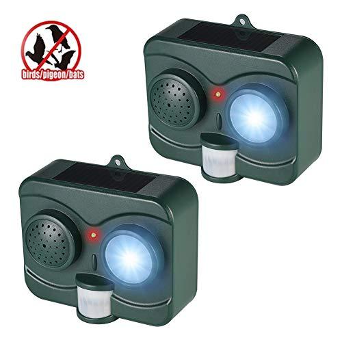 m Freien, Wasserdichte Solarbatterieleistung für Birds Bat mit LED-Blinklicht und PIR-Bewegungssensor Sound Imitation,2pack ()