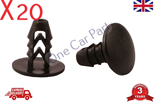 20 x Voiture Universel Plastique rivets Garniture Bumper Fender Clips de fixation M8 8 mm