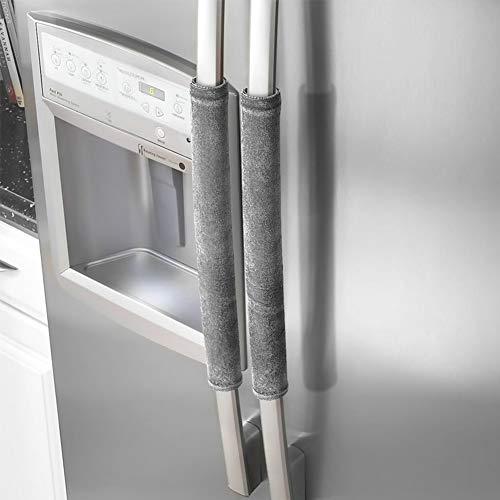 1 par de cubiertas para manilla de puerta de refrigerador, para frigorífico, microondas, electrodomésticos, guantes, protector de gamuza, gris, Tamaño libre