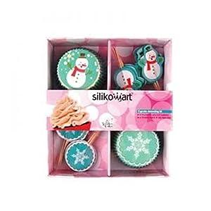 Silikomart Baking Cups - Set 24 Paper Cases + 24 Cake Topper Picks Winter