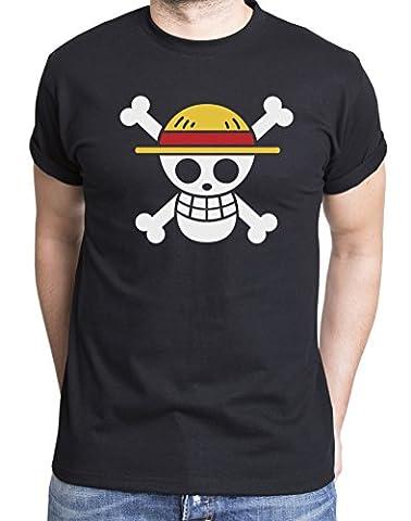 Ruffy Straw Hat Logo T-Shirt pour Homme Ruffy Luffy One Monkey Anime Piece Zoro, Farbe2:Schwarz;Größe2:M