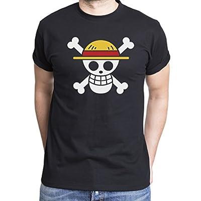 Ruffy Straw Hat Logo Camiseta de hombre Luffy Ruffy One Monkey Anime Piece Zoro, Farbe2:Negro;Gr��e2:L