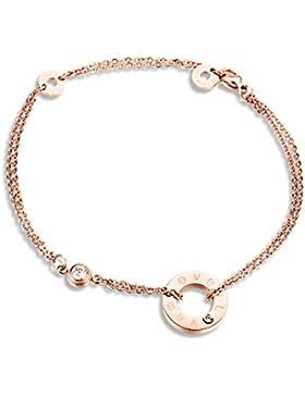 iLove EU Love Edelstahl Armband Fußkette Fußkettchen Fußschmuck Zirkonia Rose Gold Ring Elegant Charm Charme Damen