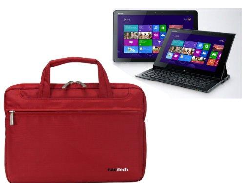 Navitech rubin rote premium Wasser wiederständige Shock sichere Ultrabook / Laptop / Tablet trage Tasche / Case speziell für das Sony Vaio 11 Duo Windows 8 Tablet