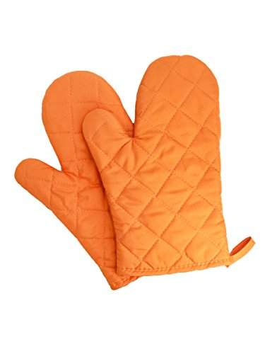 1 Paar Verdickte Hitzebeständige Ofenhandschuhe Topflappen Mikrowellenofen Handschuhe Backhandschuhe Gesteppt Baumwolle Polyester - Orange (Orange Cami)