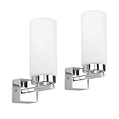 Modern Chrome & White Glass Bathroom Wall Light - IP44 Rated by MiniSun