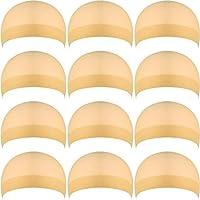 12 Piezas Gorros de Peluca de Nylon para Mujeres y Hombres (Beige Natural)