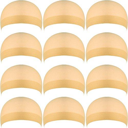 12 Pezzi Copricapo per Parrucche di Nylon, Cappuccio per Parrucca Beige Naturale, Copricapo di Parrucche per Donne e Uomini