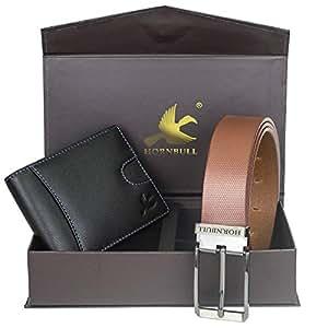 Hornbull Men's Black Wallet and Brown Belt Combo BW102113