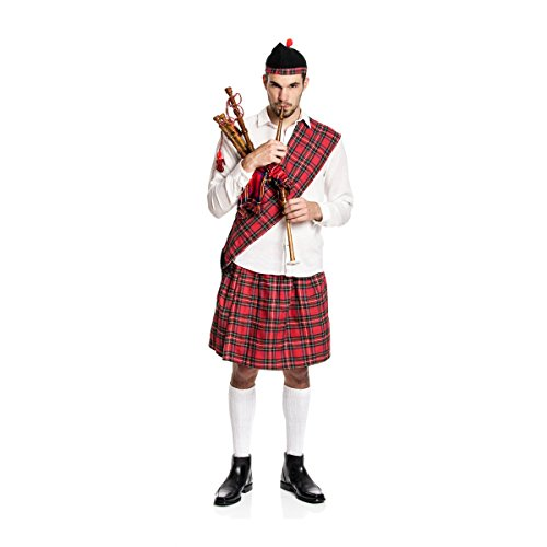 Kostümplanet® Schotten-Kostüm Herren Kilt + Mütze + Schärpe Schotte Faschings-Kostüm große Größe 64/66