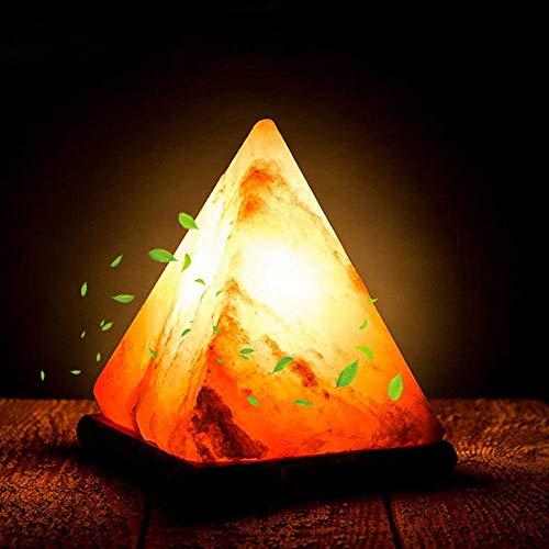 Pang Hu Dreieck Salz Lampe/Handgravur Luftreiniger Nachtlicht/Himalaya Holz Basis/Bunte natürliche Kristall Licht/USB-Stecker (Große Raw-kristalle)