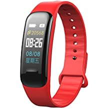 Color Screen Slim fitness tracker, Qimaoo sport Smart Watch con monitor frequenza cardiaca pressione sanguigna, schermo IPS Wristband contapassi sonno monitor per uomo donna bambini supporta iOS smartphone Android, Red