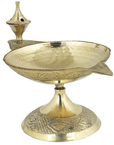 RoyaltyLane Handmade Indian Brass Oil Puja Lamp - Diya Lamp Engraved Design - 3 x 4.5 x 2.5 Inches  available at amazon for Rs.175