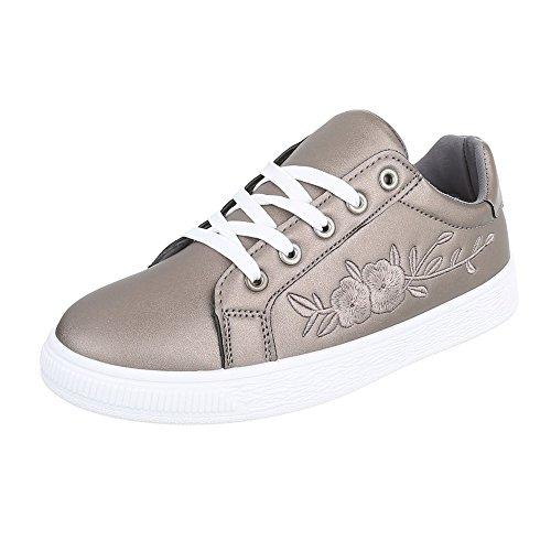 Ital-Design - Pantofole Donna Silber Grau 6732-Y