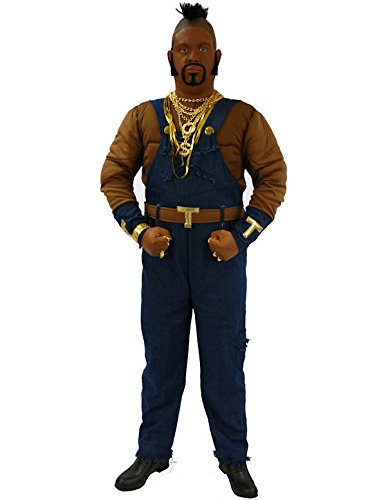 Mens Mr T Ba Baracus A Team 1980s TV Fancy Dress 80s Costume Standard