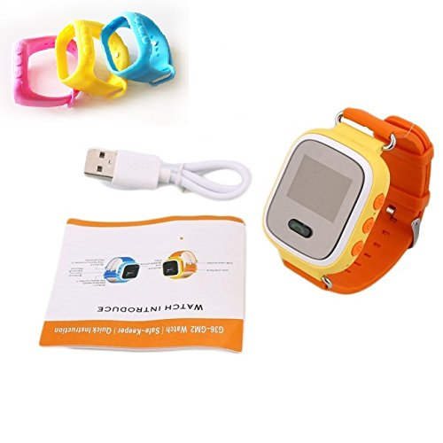 Kids GPS security smart tracker anti lost SOS gift watch Orange/Yellow color watch with free silicon ad-don strap