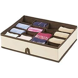 mDesign boite de rangement - rangement tiroir à 16 compartiments pour une organisation minutieuse - rangement vêtements, chaussettes, lingerie, bijoux, etc. - couleur crème/brun