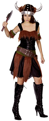 Ladies 5 Piece Sexy Viking with Hat Historical Fancy Dress Costume Outfit 10-12-14 (One Size (UK 10-14)) (Viking Lady Kostüme)