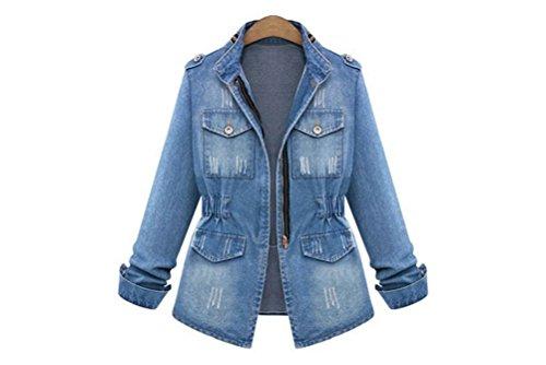 5 ALL Damen Basic Mäntel Herbst Winter Jeansjacke Vintage Langarm Schlank Denim Jeans Trucker Jacke Mantel Beiläufige Outwear Strickjacken Kurzjacke Blau 3XL