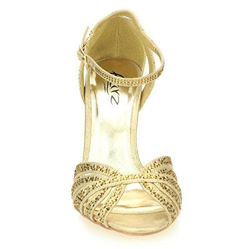 Frau Damen Abend Hochzeit Party Hoch Ferse Stiletto Diamante Braut Sandale Schuhe Größe (Gold, Silber, Zinn) Gold