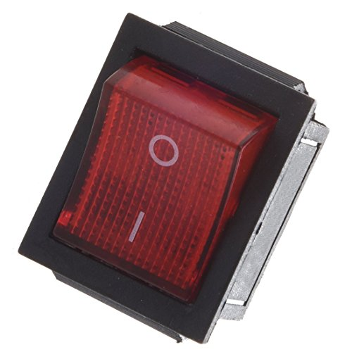 Snap Schalter (SODIAL (R) Rot Beleuchtet 4 Pin DPST ON / OFF-Snap in Wippschalter 16A 20A 250V AC)