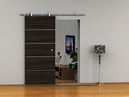 TP-SS02 # Satin Nickel Brushed Stainless Steel Sus304 Modern Barn Wood Sliding Door Hardware Track Kit for Storage Room, Laundry Room, Master Bathroom, Walk-in Closet, Office, Shutters, High Mobility Areas (Single Door 6.5 Feet / 2000 mm, TP-SS021) (Nickel-track Kit)