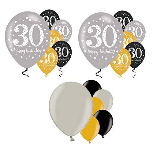 Feste Feiern Geburtstagsdeko Zum 30 Geburtstag I 18 Teile All in One Set Luftballons Gold Schwarz Silber metallic Party Happy Birthday