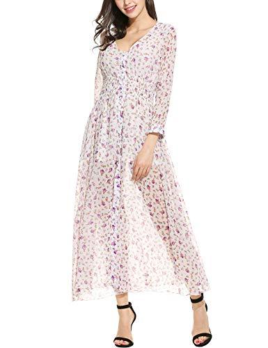 4ffae0f8767f73 Plunge Maxikleider Damen Sommerkleid Lang Chiffon Kleid Strandkleid  Partykleid V Ausschnitt Cocktailkleid A Linie Blumenkleid 3