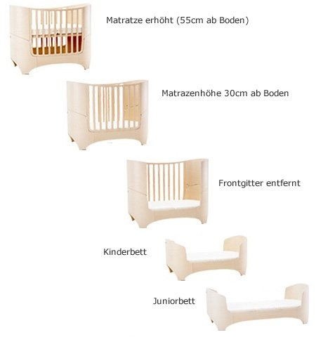 "Leander bed, beech white wash  'White Glaze ""White Wash = with visible wood grain Can be used from babies first day to school age Including all mattress and slatted frame parts 7"