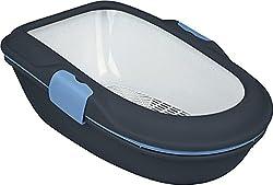 Trixie 40154 Katzentoilette Berto, 39 × 22 × 59 cm, dunkelgrau/pastellblau/granit