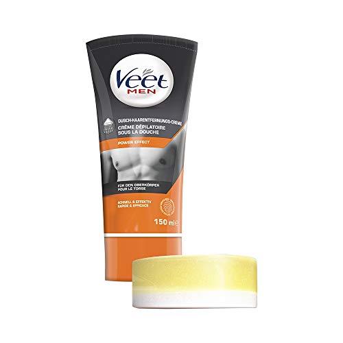 Shave Gel-tube (Veet for Men Dusch-Haarentfernungscreme Power Effect - Schnelle & effektive Haarentfernung für Männer in nur 3-6 Minuten - 1 x 150 ml Tube mit Schwamm)