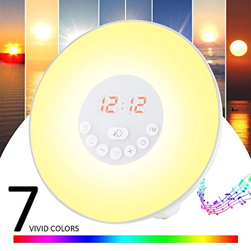 GRDE Despertador con alarma, luz nocturna - Lámpara LED Wake Up Light con Sonidos Naturales&Radio FM...