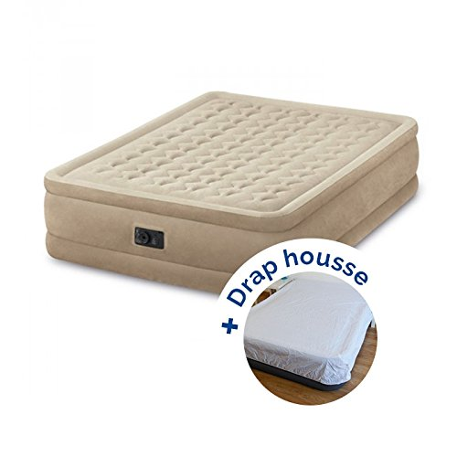 RAVIDAY Pack Matelas électrique Gonflable 2 Places Intex Ultra Plush Fiber-Tech + Drap Housse