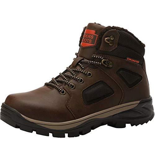 Stivali da Neve Uomo Inverno Impermeabili Trekking Scarpe Outdoor Pelliccia Sneakers Marrone 42