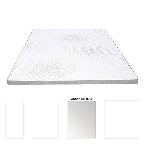 Milliard Gel-Memory-Foam-Matratze Topper mit waschbaren abnehmbare weiche Bambus-Abdeckung Queen Grau/weiß -