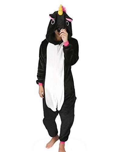 Einhorn Pyjamas Kostüm Jumpsuit Tier Schlafanzug Erwachsene Unisex Fasching Cosplay Karneval (Medium, Schwarz)