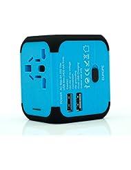 TBS®2308 AC Adaptador De Viaje Universal para enchufes + 2 puertos USB 2,4 A - externa fusible –Smart- para teléfonos, tabletas, ordenador cualquier dispositivo - UE UK USA AUS más de 150 países