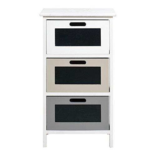 Rebecca mobili comodino con 3 cassetti, cassettiera moderna, bianca beige grigia, per camera da letto bagno - misure: 66 x 37 x p 27 cm (hxlxp) - art. re4385