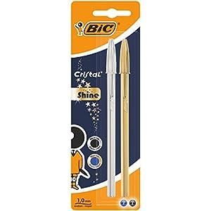 BIC Cristal Shine bolígrafos punta media (1,0 mm) – Cuerpo y colores Surtidos, Blíster de 2 unidades