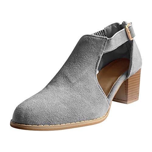 Geilisungren Damen Casual Kurz Ankle Boots Schnalle Knöchelriemen Sandalen Aushöhlen Stiefeletten Kurzschaft Stiefel High Heels Übergrößen Frauen Booties mit Blockabsatz -