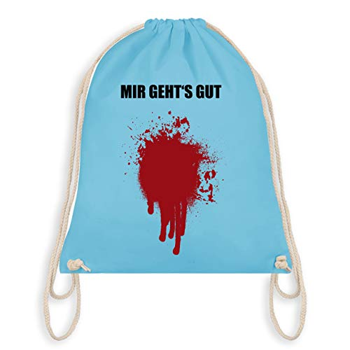 (Halloween - Mir geht's gut Blutfleck Kostüm - Unisize - Hellblau - WM110 - Turnbeutel & Gym Bag)