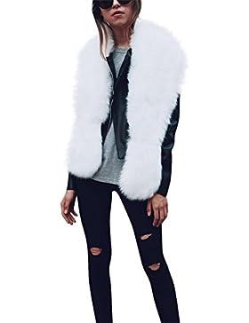 iBaste Sciarpa Pelliccia Donna Elegante Scialle Pelliccia Sintetica Inverno  Irregolare Collo 9f6e8950d4a6