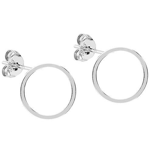 MYA art Damen Ohrringe Ohrstecker Stecker 925 Sterling Silber mit Kreis Ringe Offen Minimalistisch Geometrische Runde Formen - Kreise Silber