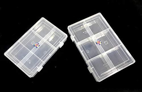SPC Plastic Grid Box Organizer for Jewelry, Hair Pins, Medicines, Craft Material, Hardware with 6 Partitions/Sections, White (Combo of 2 Boxes)