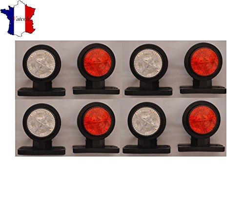 8 X 24V SMD LED ROUGE BLANC FEUX DE GABARIT POSITION CAMION REMORQUE CHASSIS BUS