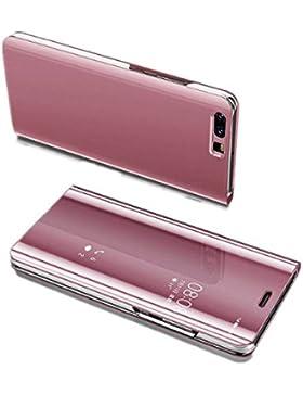 Funda Huawei Y6 Teléfono Caso Alta Calidad Protección Cámara Espejo Plástico Duro Cover Plegable Antideslizante...