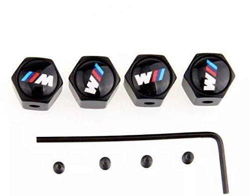 4tapones para válvulas con sistema antirrobo, con logo de BMW serie M. Color negro.