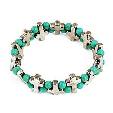 Moda verde Bead Croce collegamento & della catena del braccialetto (colore casuale)